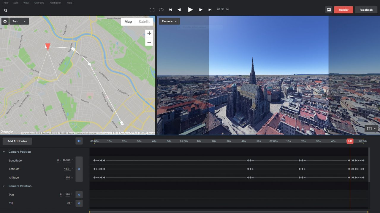 Step 1: Flug in Google Earth Studio setzen (quadratischer Ausschnitt in Project Settings wählen)