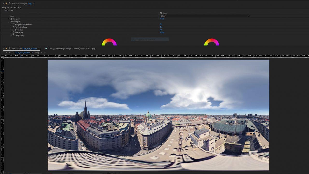 Step 6: 6x Google Logo entfernen ☺, ein paar Wolken dazu, Colorgrading, rendern in Minimum 4K und 60fps.