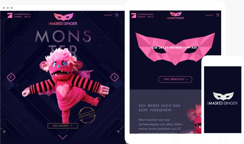 the masked singers interactive web experience